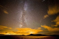 Perseid meteor shower above Chapel of Garioch, near Aberdeen, Scotland, Britain - 12 Aug 2013
