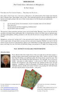 CRANKY GURU PRESS RELEASE